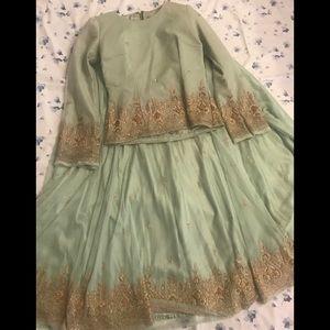 Indian lengha, 2 piece suit, long skirt w blouse